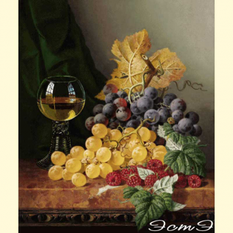 093 Still life with fruit and a glass on a marble ledge