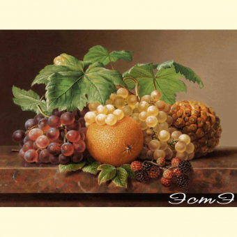200 Still Life of Orange and Blackberries