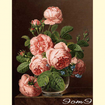 246 Still Life Of Roses In A Glass Vase (m)