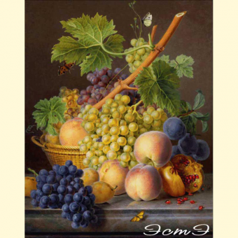 060 A Basket of Grapes and Peaches (l)