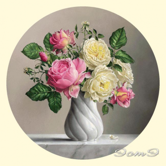 286.1 Roses in Twisted Vase (round)