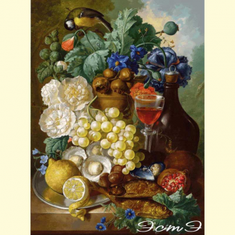 415 Still life with fruit and flowers, oysters, mussels