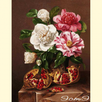 118 Still Life Study Of Camellias And Pomegranates