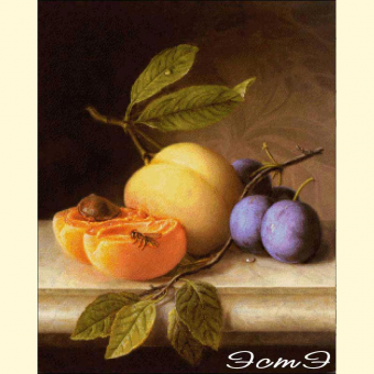 003 Still Life with Peach and Prunes